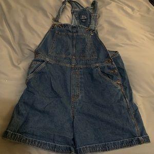 Short denim oversized overalls